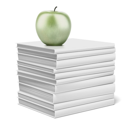 books and apple isolated on a white background. 3d render Stock Photo - 23440269