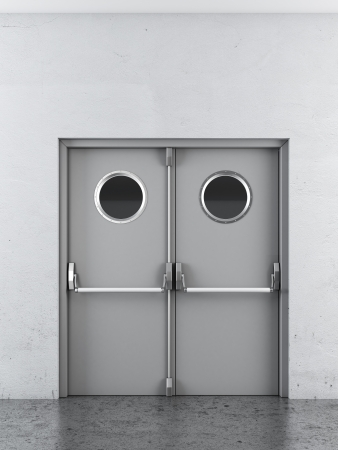 salida de emergencia: Puertas batientes blancas en el interior. 3d Foto de archivo