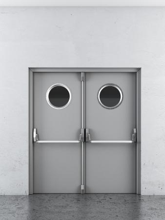 White swing doors in interior. 3d render photo