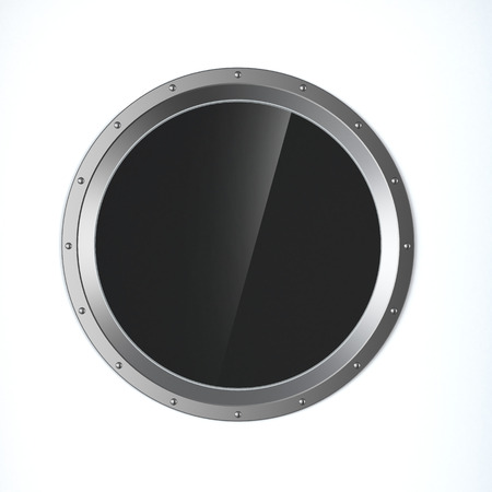 metal porthole  isolated on a white background. 3d render photo