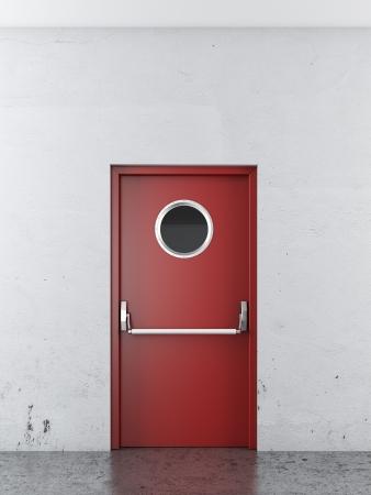 salida de emergencia: puerta de salida de emergencia de color rojo. 3d Foto de archivo