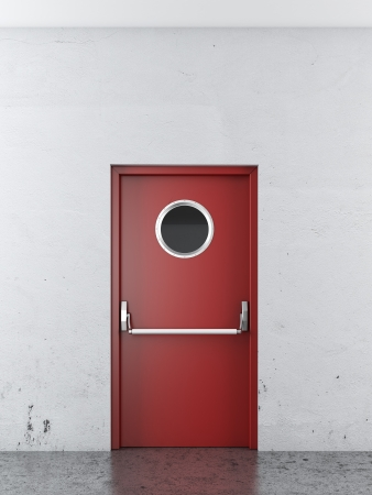 red emergency exit door. 3d render photo