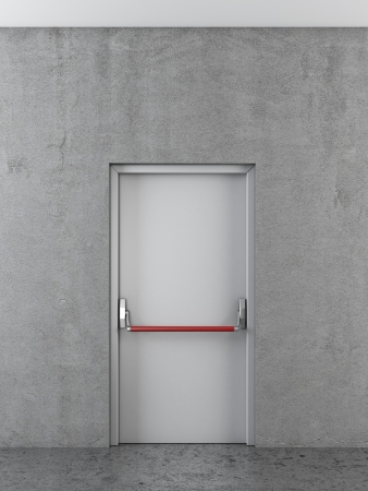 White door on concrete wall. 3d render photo