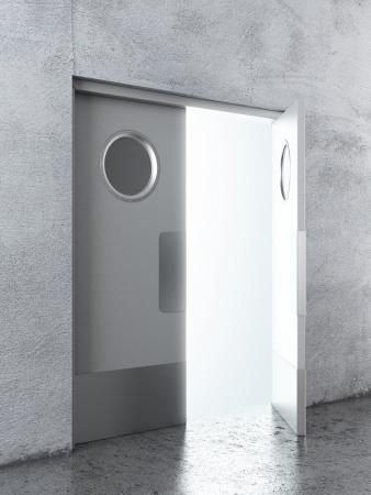 salida de emergencia: Abrió la puerta abatible Blanco. 3d Foto de archivo