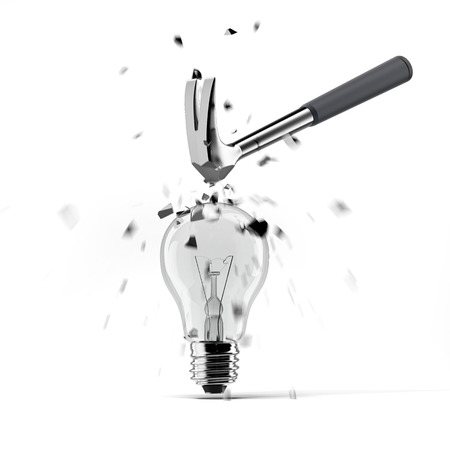 different idea think different: hammer crashing on light bulb isolated on a white background. 3d render