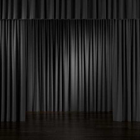 ブラック インテリア カーテン。3 d のレンダリング