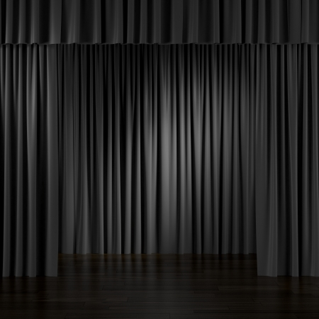 Zwarte gordijnen in het interieur. 3d render Stockfoto