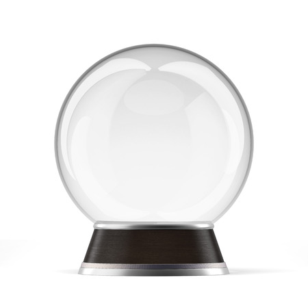 Empty snow globe  isolated on a white background. 3d render photo