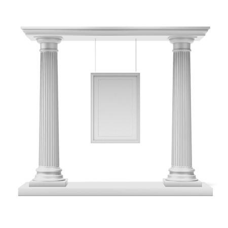 templo griego: Columnas con marco blanco aisladas sobre un fondo blanco. 3d Foto de archivo