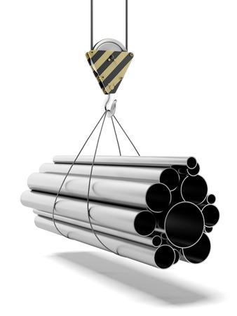Crane with steel pipes  isolated on a white background. 3d render photo