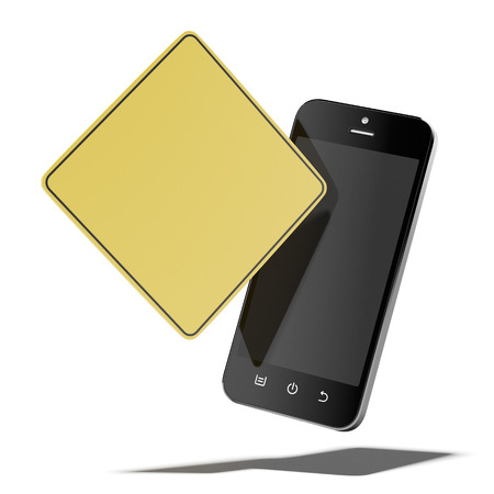 Smartphone with yellow sign  isolated on a white background. 3d render Stock Photo - 23766986