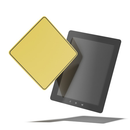 Tablet pc with yellow sign  isolated on a white background. 3d render photo