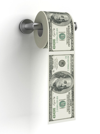 Dollars as toilet paper  isolated on a white background. 3d render photo