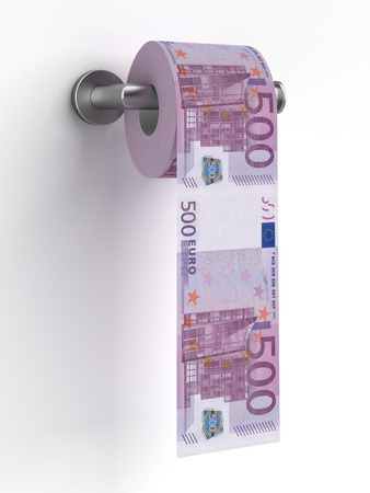 Roll of euros bills on a toilet paper   isolated on a white background. 3d render photo