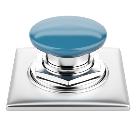 Blue button  isolated on a white background. 3d render photo