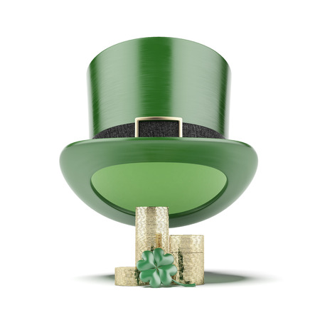 Green hat with coins isolated on a white background. 3d render photo