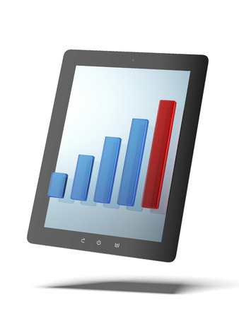 Tablet PC with chart  isolated on a white background. 3d render photo