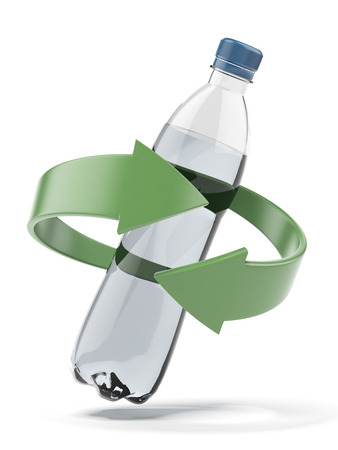 recycling bottles: Plastic bottle recycling  isolated on a white background. 3d render