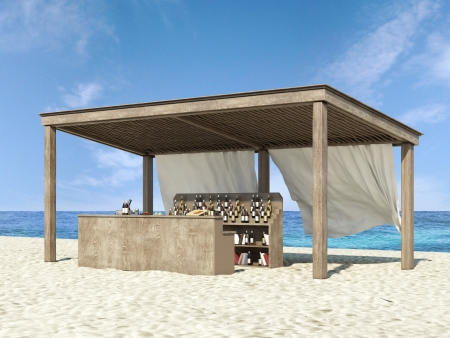 fruit bars: Beach bar. 3d render