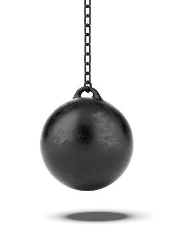 destroy: Black Wrecking ball  isolated on a white background. 3d render