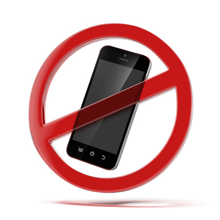 interdiction telephone: aucun signe de t�l�phone cellulaire isol� sur un fond blanc. Rendu 3d Banque d'images