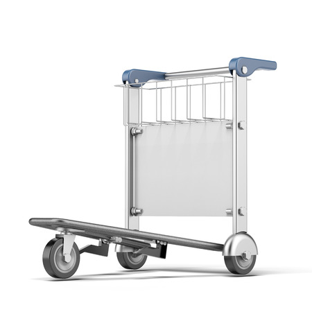 trolley: airport trolley   isolated on a white background. 3d render