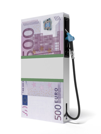 Gas station as stack of euros isolated on a white background. 3d render photo