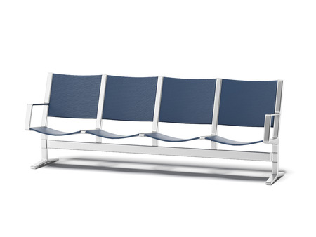 empty chair: Airport seats  isolated on a white background. 3d render Stock Photo
