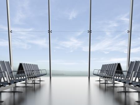 vertrekhal op de luchthaven 3d render