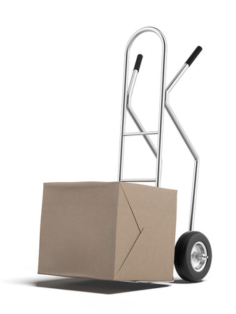 dolly:  cardboard box on hand truck isolated on a white background. 3d render