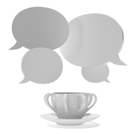 Cup with bubble chat  isolated on a white background. 3d render photo
