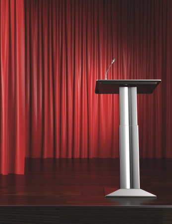 podium and red curtain 3d render