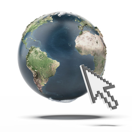Cursor and Globe.  isolated on a white background. 3d render photo