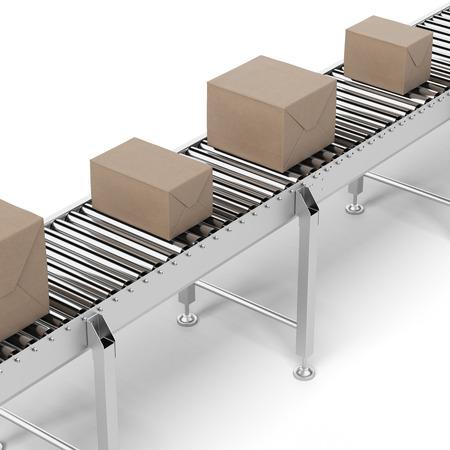 cinta transportadora: Cajas de cartón en una cinta transportadora aislados en un fondo blanco. 3d Foto de archivo