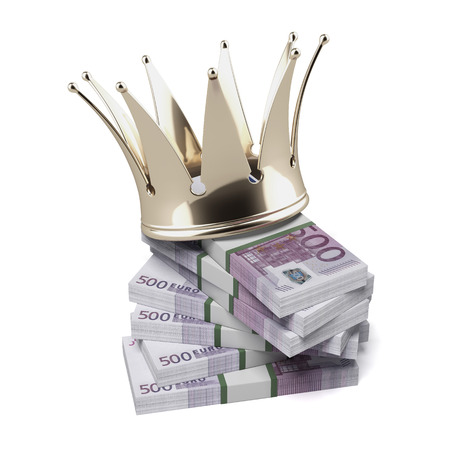 wad: Euro with golden crown isolated on a white background. 3d render Stock Photo