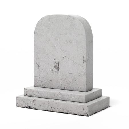 Blanco grafsteen geïsoleerd op een witte achtergrond. 3d render