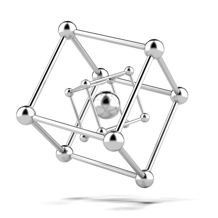 nodal: metallic molecule structure isolated on a white background. 3d render