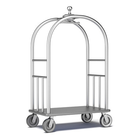 Hotel cart isolated on a white background. 3d render photo