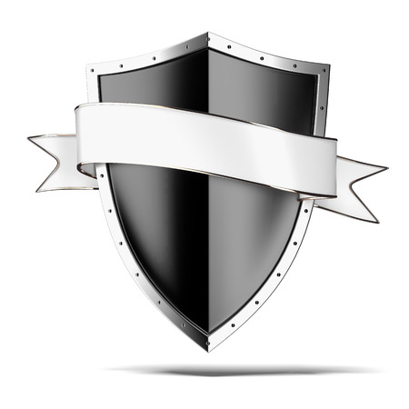 Black shield with tag isolated on a white background. 3d render photo