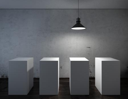 dark interior: Dark interior with white stands. 3d render Stock Photo