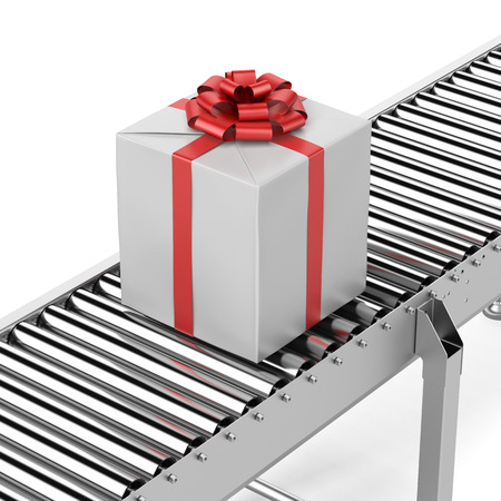 conveyer: Gift on the line isolated on a white background. 3d render