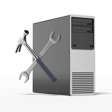 Computer repair isolated on a white background. 3d render photo