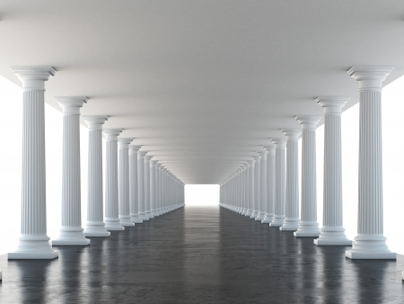 doric: white columns  isolated on a white background. 3d render