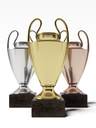 Three trophies isolated on a white background. 3d render Stock Photo - 23766804