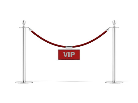 velvet rope:  rope barrier with a vip sign  isolated on a white background. 3d render Stock Photo