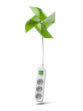 green pinwheel and energy plug  isolated on a white background. 3d render Stock Photo - 24125755