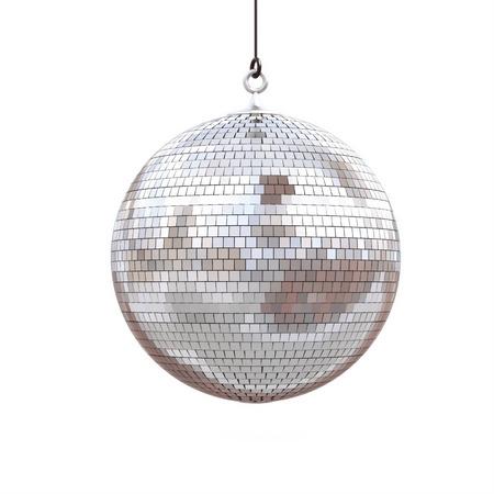 디스코 공을 흰 배경에 고립입니다. 3d 렌더링