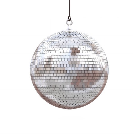 ball and chain: disco ball isolated on a white background. 3d render Stock Photo