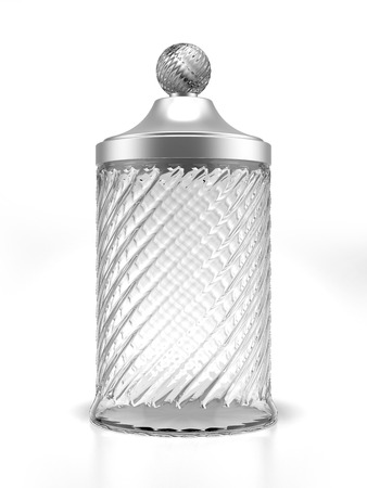 crystal bowl: Glass jar  isolated on a white background. 3d render