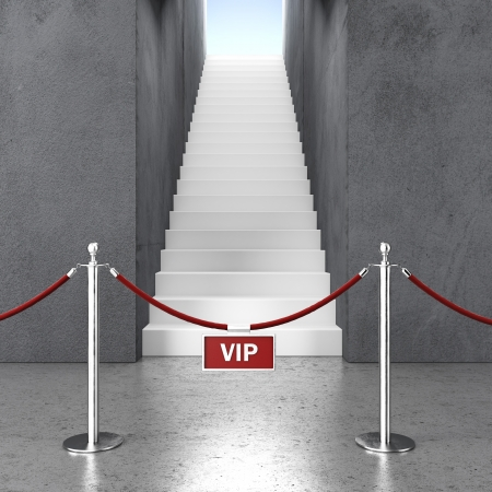 velvet rope: vip enter.  rope barrier and stair. 3d render Stock Photo